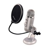 Blue Microphones Yeti POP filter Blue Yeti Pop Filter Flat Clamp Attaches Easily To Blue Yeti